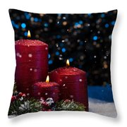 Three Red Candles In Snow  Throw Pillow
