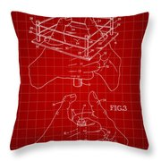 Thumb Wrestling Game Patent 1991 - Red Throw Pillow