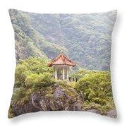 Traditional Pavillion Atop Cliff Throw Pillow