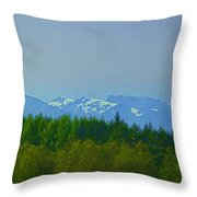 Treeline With Ice Capped Mountains In The Scottish Highlands Throw Pillow