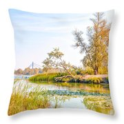 Trees Close To The River Throw Pillow