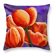 3 Tulips Red Purple Throw Pillow
