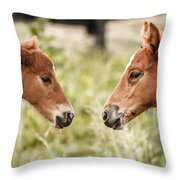 Two Colts Throw Pillow