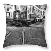 Typical Lisbon Tram In Commerce Square Throw Pillow