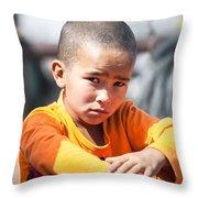 Uighur Child At Kashgar Market Xinjiang China Throw Pillow