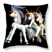 3 Unicorns Romping Throw Pillow