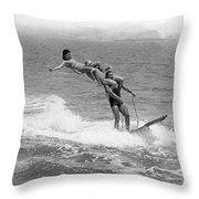 Aquaplaning Trio Falls Throw Pillow
