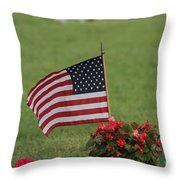 Us Flag On Memorial Day Throw Pillow by Robert D  Brozek