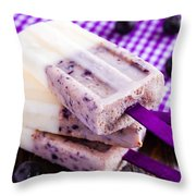 Vanilla And Blueberry Popsicles Throw Pillow by Teri Virbickis