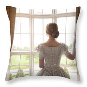 Victorian Woman At A Window Throw Pillow