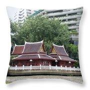 View From Chao Phraya River In Bangkok Throw Pillow