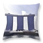View Of The Towers Of The Marina Bay Sands In Singapore Throw Pillow