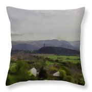 View Of Wallace Monument And Surrounding Areas Throw Pillow