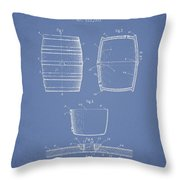 Vintage Beer Keg Patent Drawing From 1898 - Light Blue Throw Pillow
