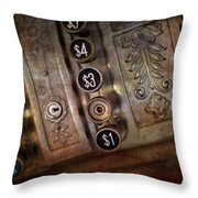 Vintage Metal Cash Register Throw Pillow