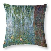 Waterlilies Morning With Weeping Willows Throw Pillow