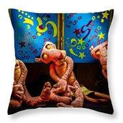 3 Wet Pink Panthers Throw Pillow