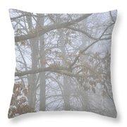 White Oak Tree In Fog Throw Pillow