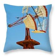 Wind Mills In West Texas Throw Pillow
