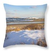 Winter At Popham Beach State Park Maine Throw Pillow