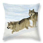 Wolves In Winter Throw Pillow