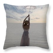 Woman At The Beach Throw Pillow