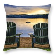 Wooden Chairs At Sunset On Beach Throw Pillow