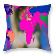 World Map And Aphrodite Throw Pillow