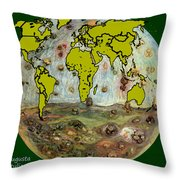 World Map And Earth Throw Pillow