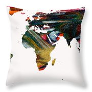 World Map And Human Life Throw Pillow