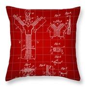 Zipper Patent 1914 - Red Throw Pillow