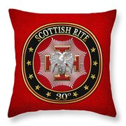30th Degree - Knight Kadosh Jewel On Red Leather Throw Pillow