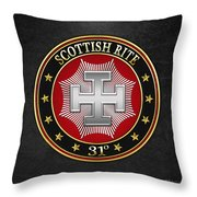 31st Degree - Inspector Inquisitor Jewel On Black Leather Throw Pillow