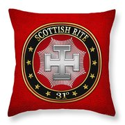 31st Degree - Inspector Inquisitor Jewel On Red Leather Throw Pillow