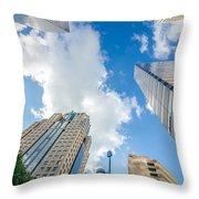 Skyline And City Streets Of Charlotte North Carolina Usa Throw Pillow