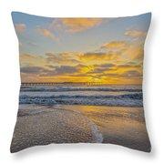 Ocean Beach Pier Sunset Throw Pillow