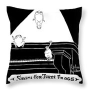 Sonata For Three Frogs Throw Pillow
