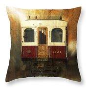 321 Antique Passenger Train Car Textured Throw Pillow
