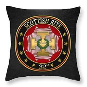 32nd Degree - Master Of The Royal Secret Jewel On Black Leather Throw Pillow