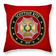 32nd Degree - Master Of The Royal Secret Jewel On Red Leather Throw Pillow