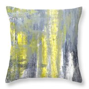 Placed - Grey And Yellow Abstract Art Painting Throw Pillow