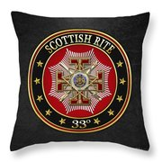 33rd Degree - Inspector General Jewel On Black Leather Throw Pillow