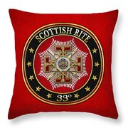 33rd Degree - Inspector General Jewel On Red Leather Throw Pillow
