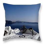 Views Of Santorini Greece Throw Pillow