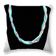 3584 Three Strand Twisted Shell Necklace Throw Pillow