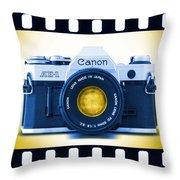 35mm Blues Canon Ae-1 Throw Pillow