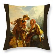Old Woman With A Muff Second Half 18th Century Throw Pillow