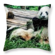 3722-panda -  Embossed Sl Throw Pillow