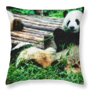 3722-panda -  Pastel Chalk 2  Throw Pillow