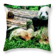 3722-panda -  Watercolor 1 Throw Pillow